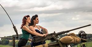 Фотографии Пулеметы Двое Армия