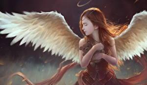 Обои Ангелы Крылья Шатенка Фэнтези Девушки фото