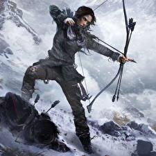 Картинки Rise of the Tomb Raider Лучники Лара Крофт Стрела Лук оружие Игры Девушки