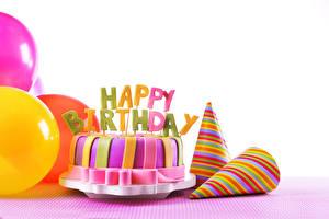 Фотография День рождения Торты Праздники Белом фоне Пища