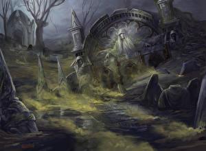 Картинки Готика Фэнтези Скелет Magic the Gathering Игры