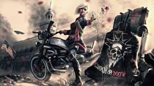 Фотографии Рисованные Мотоциклист Блондинка Фэнтези Девушки