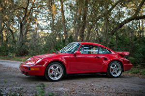 Картинки Порше Темно красный Металлик Сбоку 1994 911 Turbo 3.6 S Flachbau Автомобили