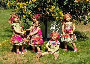 Фотографии Парки Кампсис Куклы Платья Девочка Трава Grugapark Essen Природа