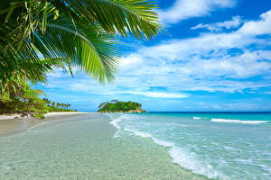 Картинки Небо Побережье Море Тропики Лето