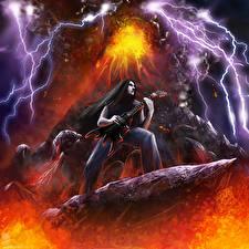 Фото Рисованные Гитара Молния Вулкан Heavy Metal