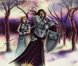 Картинка Dragon Age Воины Броня Мечи Фэнтези