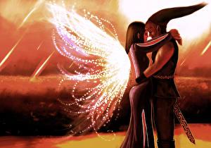 Фото Любовь Влюбленные пары Эльфы Рисованные Двое Фэнтези
