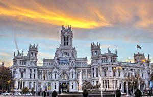Фото Испания Фонтаны Мадрид Дворца Plaza de Cibeles Города
