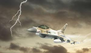 Фотографии Самолеты Истребители Рисованные F-16 Fighting Falcon Молния