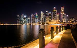 Обои Сингапур Дома Побережье Ночь Города фото