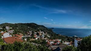 Обои Греция Дома Море Небо Glossa Города фото