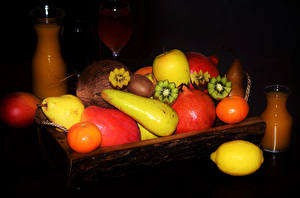 Обои Фрукты Груши Мандарины Лимоны Гранат Сок Киви Пища
