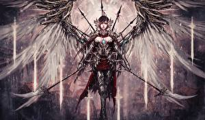Обои Ангелы Крылья Копья Фэнтези Девушки фото