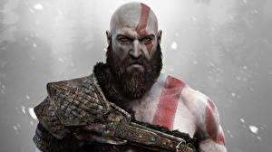 Обои Мужчины God of War Борода PS4 Kratos Игры Фэнтези фото