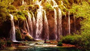 Картинки Хорватия Парки Водопады Мох Plitvice National Park Природа