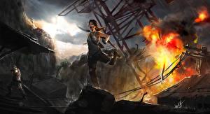 Картинки Tomb Raider 2013 Взрывы Лучники Лара Крофт компьютерная игра Девушки
