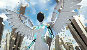 Обои Ангелы Робот Крылья Фэнтези фото