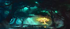 Картинки Фантастический мир Болото Дерева Фантастика