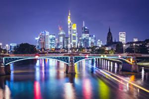 Фото Германия Дома Реки Мосты Франкфурт-на-Майне В ночи