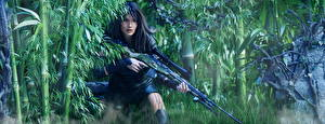 Картинка Солдаты Снайперская винтовка Бамбук Снайперы Армия Девушки