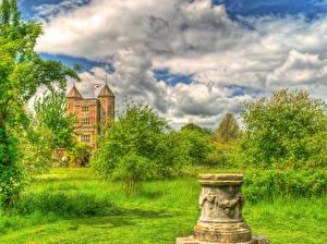 Картинки Англия Замки HDR Облака Трава Sissinghurst Castle Природа