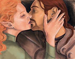 Картинки Dragon Age Любовники Эльфы Мужчины Рисованные Двое Maya Turan, Darien Liese of Warden's Vigil Девушки