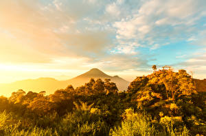 Фото Индонезия Остров Горы Небо Облако Java island Природа