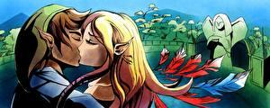 Обои The Legend of Zelda Влюбленные пары Эльф Два Парни Skyward Sword In The End компьютерная игра Девушки