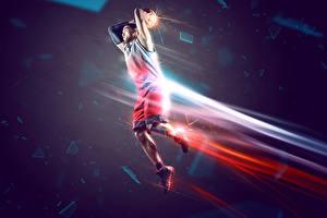 Картинки Баскетбол Мужчины Прыжок Спорт