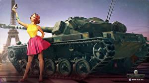 Фотографии WOT Танк Nikita Bolyakov AMX ELC bis компьютерная игра Девушки