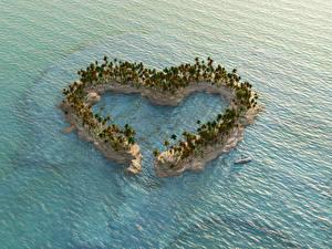 Картинка Америка Остров Море Пальма Сердечко Природа 3D_Графика