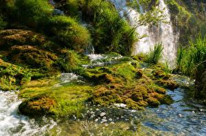 Фото Хорватия Парки Водопады Мох Plitvice Природа
