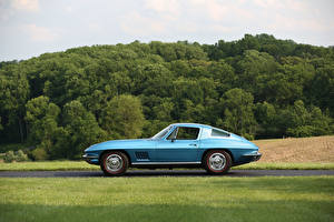 Обои Chevrolet Ретро Голубой Сбоку 1967 Corvette Sting Ray (C2) Автомобили фото