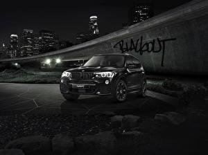 Картинки БМВ Черный Ночь X3 F25 автомобиль