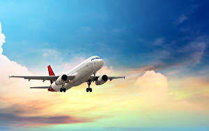 Фотография Самолеты Пассажирские Самолеты Небо Облака