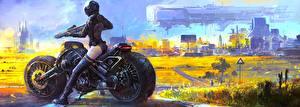 Обои Фантастический мир Мотоциклист Шлем Фэнтези Мотоциклы фото