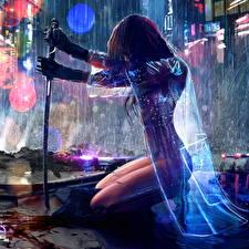 Фотография Воин Дождь Катана Ночь Плащом С саблей Фантастика Девушки