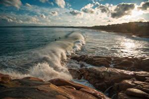 Обои Австралия Пейзаж Побережье Волны Камни Небо Облака Knights Beach Port Elliot Природа фото