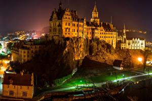 Фотографии Германия Замки Здания Дороги Ночь Sigmaringen Castle Города