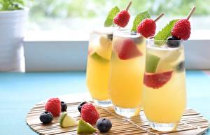 Картинки Напитки Малина Черника Стакана Трое 3 Еда