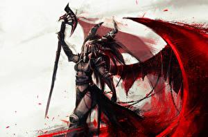 Фото Dragon Age Воины Маски Крылья Посохи Рога Witchcraft Фэнтези Девушки