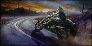 Картинка Волшебные животные Волки Дороги Мотоциклист Фэнтези Мотоциклы
