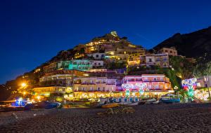 Фотографии Италия Здания Лодки Позитано Ночь Уличные фонари