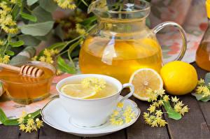Картинки Напиток Лимоны Мед Лимонад Чашка Кувшины