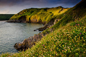 Обои Великобритания Побережье Скала Three Cliffs Bay Gower Peninsula Природа фото