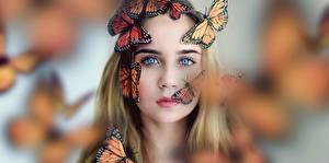 Обои Бабочки Данаида монарх Лицо Взгляд Девушки фото