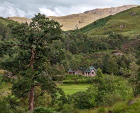 Фото Шотландия Горы Дома Деревьев Glenfinnan house Природа