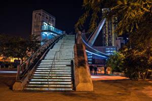 Фото Штаты Мосты Сан-Диего Лестницы Ночные Pedestrian Bridge