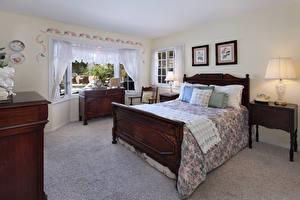 Картинки Интерьер Дизайн Спальня Кровать Подушка Лампа